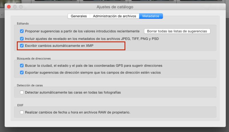 Escribir cambios automáticamente en archivo XMP