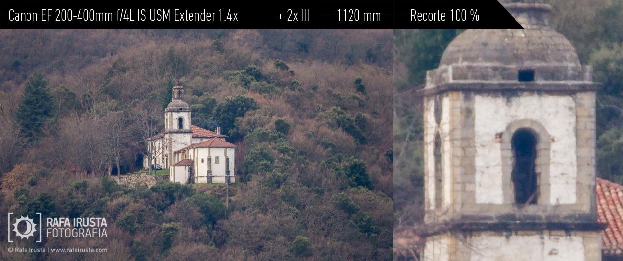 Probando Canon EF 200-400mm f/4L IS más extender 1.4x incorporado más extender 2x externo, recorte 100 %