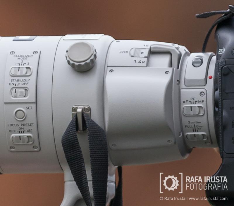 Probando Canon EF 200-400mm f/4L IS, detalle de controles