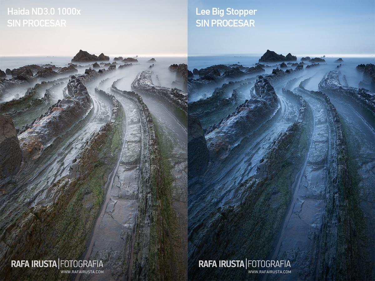 Comparativa filtros 10 pasos Lee Big Stopper y Haida ND3.0 1000x, con filtros, sin procesado