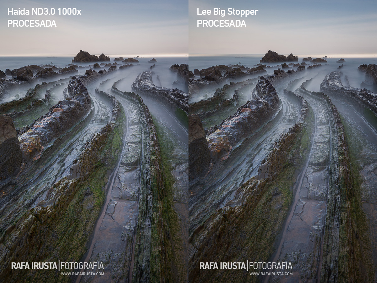 Comparativa filtros 10 pasos Lee Big Stopper y Haida ND3.0 1000x, con filtros y procesadas