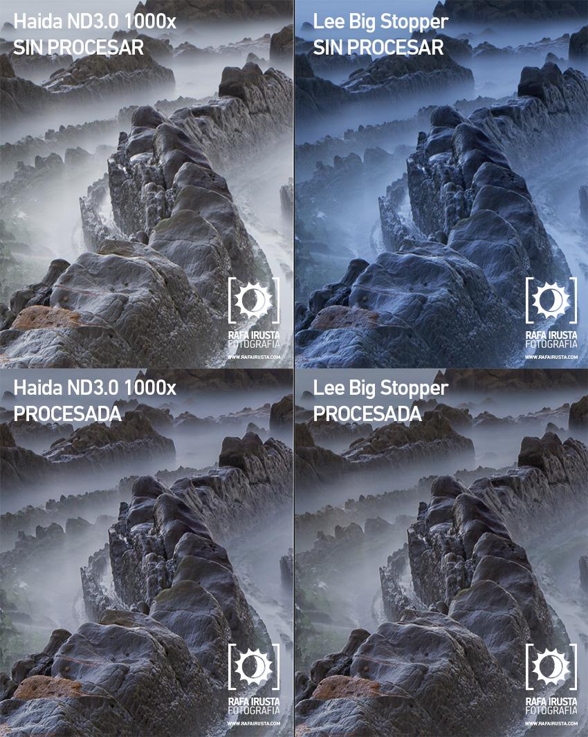 Comparativa filtros 10 pasos Lee Big Stopper y Haida ND3.0 1000x, recortes