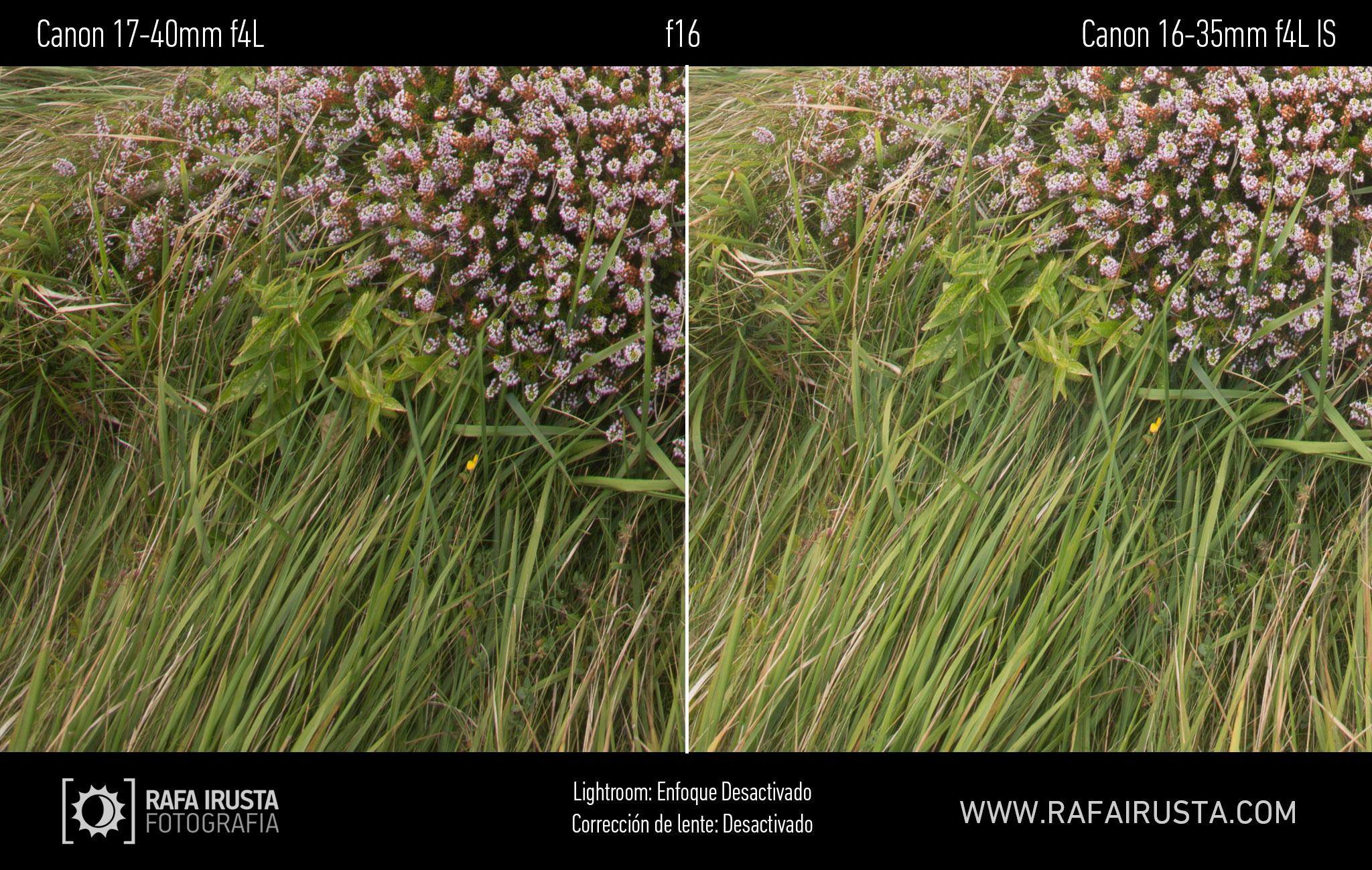 Prueba Canon 16-35mm f/4L IS, comparativa 17-40 vs 16-35 sin enfoque y sin ajuste de perfil, f16