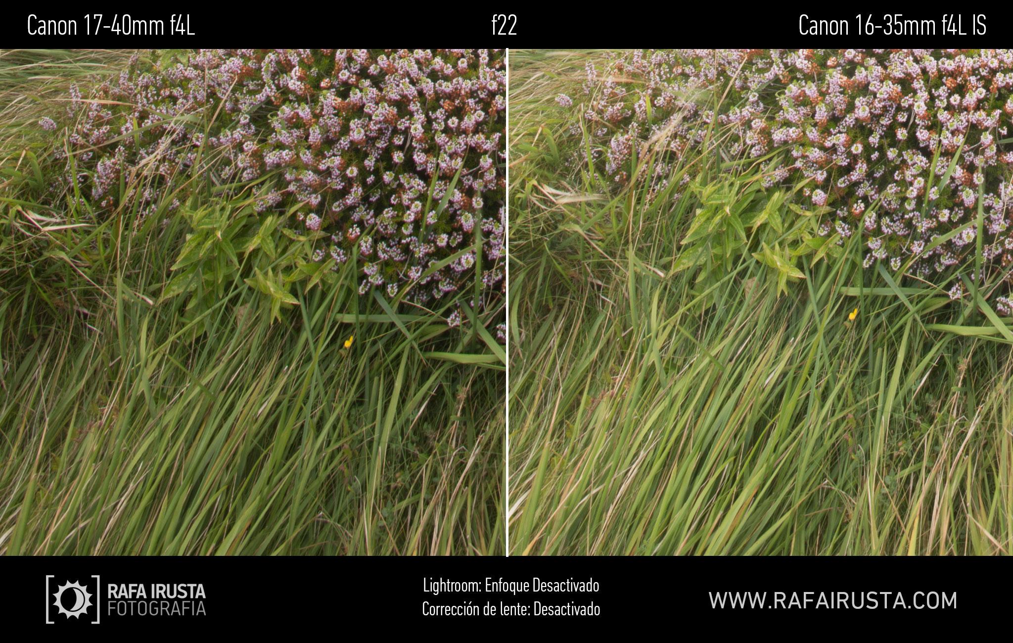 Prueba Canon 16-35mm f/4L IS, comparativa 17-40 vs 16-35 sin enfoque y sin ajuste de perfil, f22
