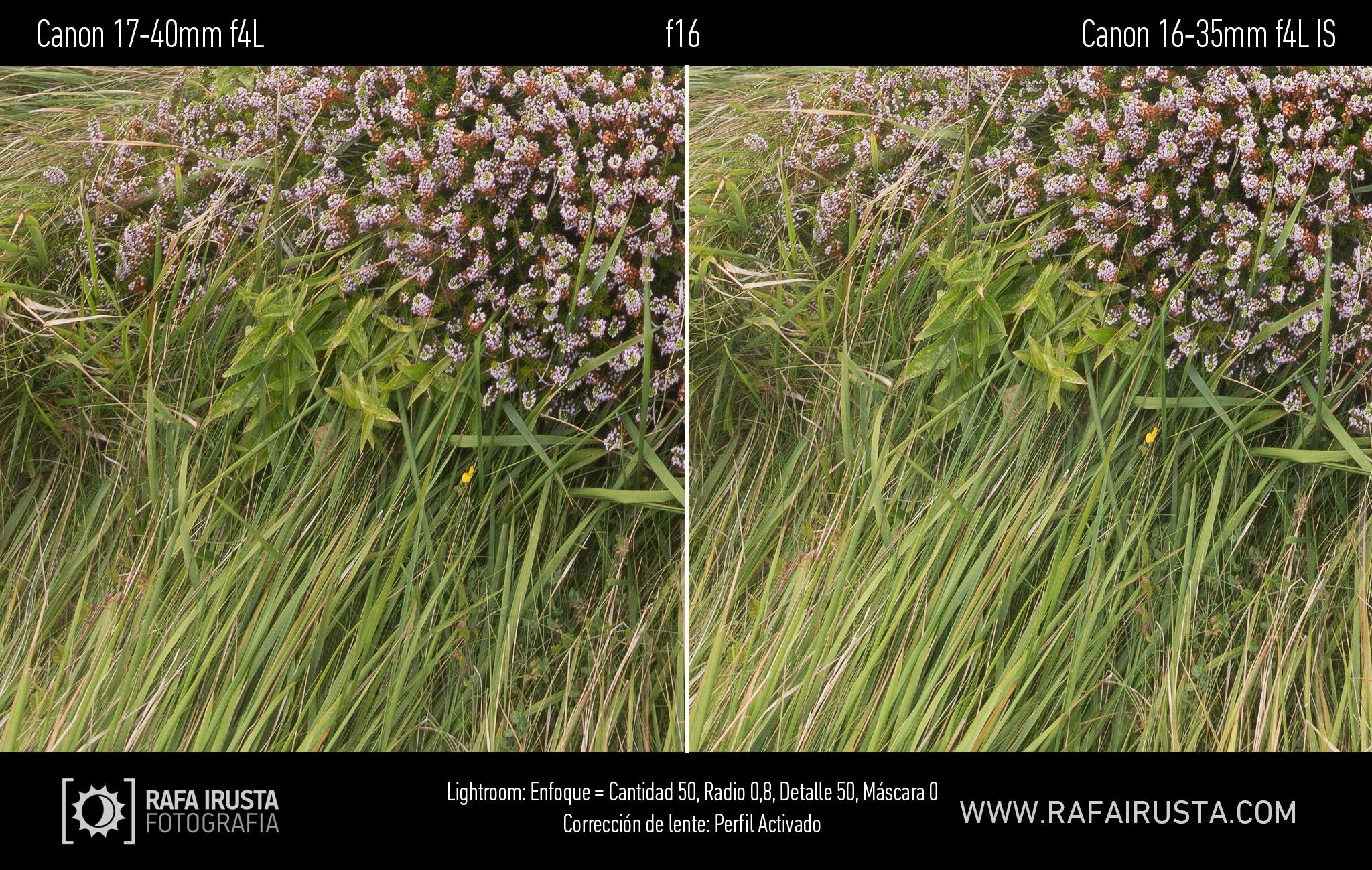 Prueba Canon 16-35mm f/4L IS, comparativa 17-40 vs 16-35 con enfoque y con ajuste de perfil, f16