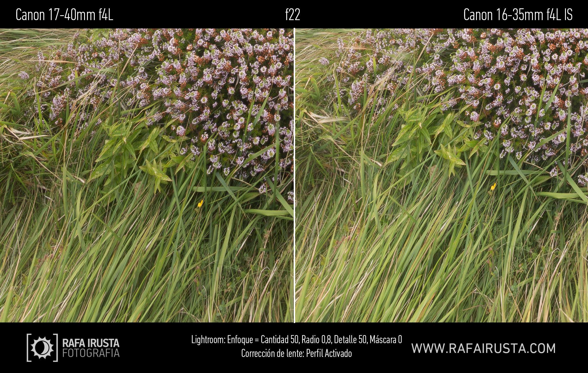 Prueba Canon 16-35mm f/4L IS, comparativa 17-40 vs 16-35 con enfoque y con ajuste de perfil, f22