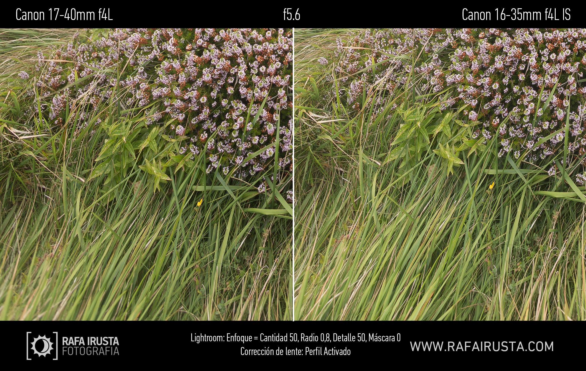 Prueba Canon 16-35mm f/4L IS, comparativa 17-40 vs 16-35 con enfoque y con ajuste de perfil, f5.6