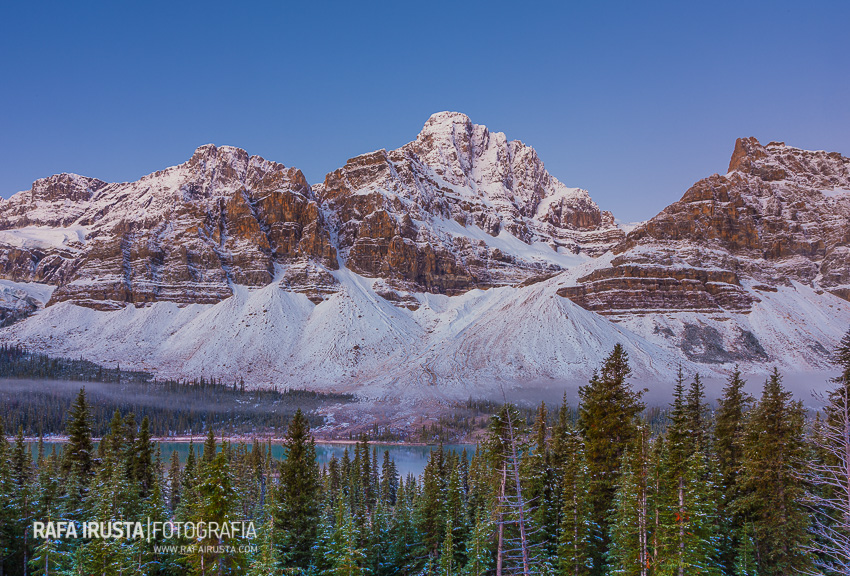 Mount Crowfoot and the Crowfoot Glacier near Bow Lake in the snow, Icefields Parkway, Banff National Park, Alberta, Canada