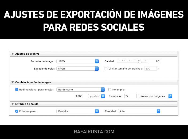 Ajustes de exportación de imágenes para redes sociales