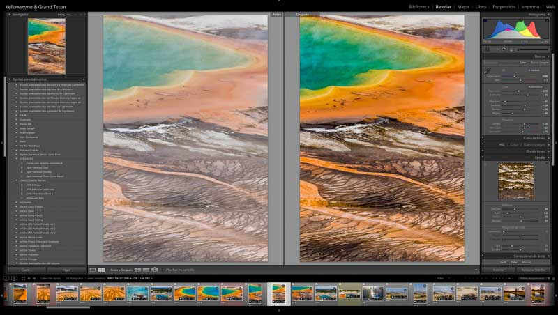 Taller Privado Lightroom, antes y después. Yellowstone
