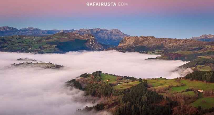 Cómo fotografiar paisajes con niebla, Mar de nubes en Carranza, Bizkaia