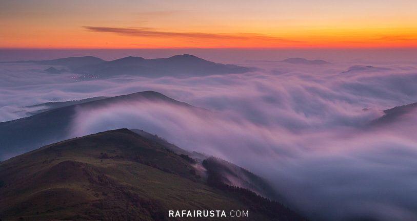 Cómo fotografiar paisajes con niebla, mar de nubes en Encartaciones, Bizkaia