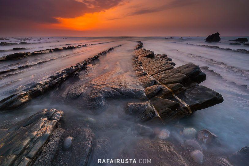 Velocidad de obturación baja en la Playa de Barrika, Bizkaia