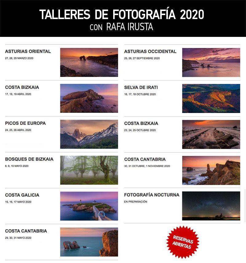 Agenda de Talleres de Fotografía de Paisaje 2020 con Rafa Irusta
