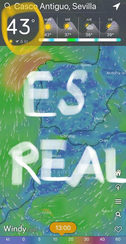 Temperatura en Sevilla, verano de 2020