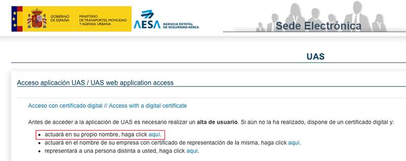 Alta usuario AESA